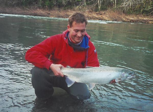 Bob with a spinner-caught Sol Duc River winter-run steelie.