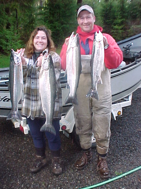 Bob & Corey with a mess of hatchery steelhead from the Bogachiel River.