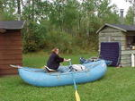 A nice safe place for Corey to work on her rowing skills, the lawn between cabins 7 and 8!