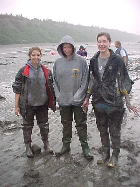 You don't have to get this dirty while clam digging, but you can if you want!