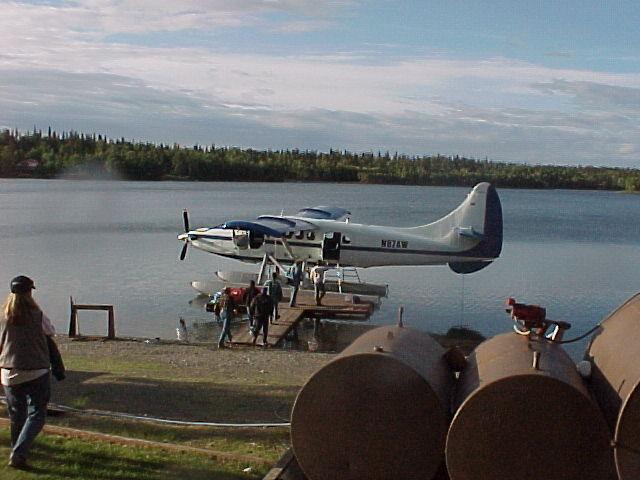 Boarding the plane for a fly-out to the Kuskatan River for some July silver salmon fishing.