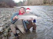 Claire with an enormous December wild steelhead.