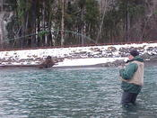 A chilly day on the water, but a hooked fish always warms you up!