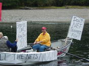 Bob during protest of record-low flows trapping salmon and continued netting by Quillayute tribe in October 2002. Netting ceased