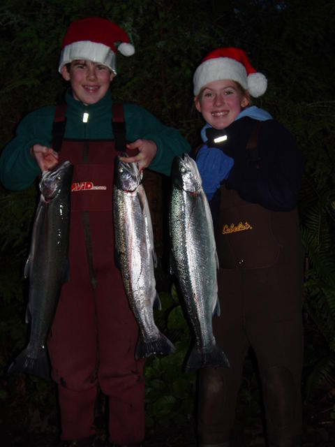 Peter again, with his sister Claire with Boagchiel River hatchery steelhead.