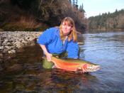 Sue with a trophy Bogachiel River steelhead.