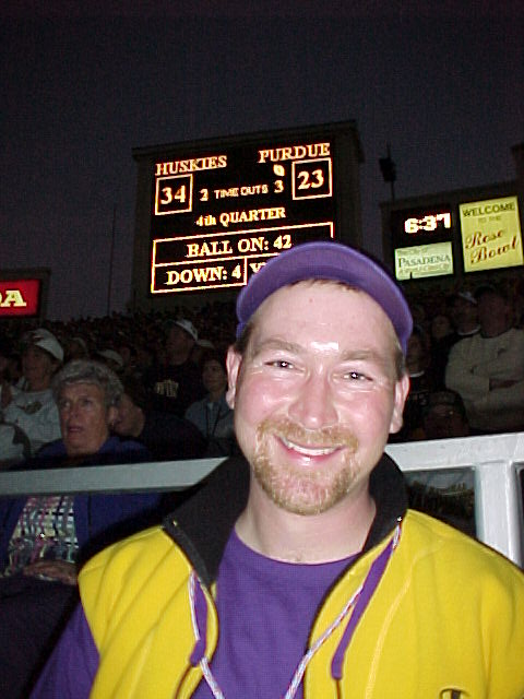 Bob's a happy camper during the closing minutes of a UW Rose Bowl win over Purdue!