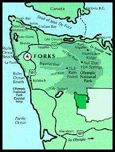 Olympic Peninsula Map ... Forks, Washington lodging and accommodations